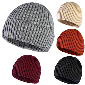 cheap Running Bags-Skull Caps Running Beanie Men's Women's Headwear Solid Colored Thermal / Warm Windproof Breathable for Running Fitness Jogging Autumn / Fall Spring Winter Black Orange Burgundy