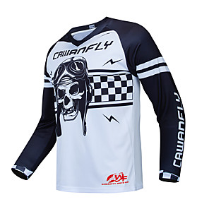 cheap Cycling Jerseys-CAWANFLY Men's Long Sleeve Cycling Jersey Downhill Jersey Dirt Bike Jersey Winter Fleece Polyester White Skull Bike Jersey Top Mountain Bike MTB Thermal / Warm Breathable Quick Dry Sports Clothing