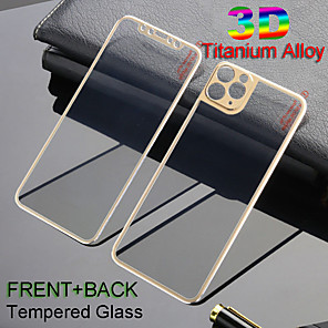cheap iPhone Screen Protectors-Front  Back 3D Full Cover Alloy Titanium Tempered Glass Film For iPhone 11Pro Max Metal Screen Camrea Lens Protector iPhone X Xs Max 7 8 Plus