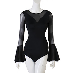cheap Latin Dancewear-Latin Dance Leotard / Onesie Ruching Women's Performance Long Sleeve Spandex