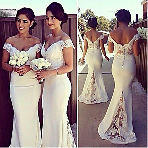 cheap Prom Dresses-Mermaid / Trumpet Elegant White Engagement Formal Evening Dress Off Shoulder Short Sleeve Sweep / Brush Train Stretch Satin with Lace Insert Appliques 2020