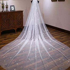 cheap Wedding Veils-One-tier Classic Style / Lace Wedding Veil Cathedral Veils with Solid / Pattern POLY / Lace