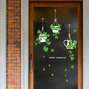 cheap Wall Stickers-SK9343ds fresh hanging basket potted green glass door window sticker cafe decoration wall sticker
