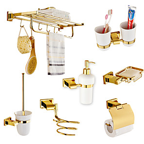 cheap Bathroom Sink Faucets-Bathroom Accessory Set Multifunction Modern Brass 7pcs - Bathroom Wall Mounted
