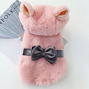 cheap Dog Clothes-Dog Coat Hoodie Winter Dog Clothes Pink Costume Cotton Bowknot Cosplay XS S M L XL