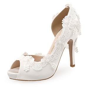 cheap Wedding Shoes-Women's Wedding Shoes Boho / Beach Stiletto Heel Peep Toe Imitation Pearl / Satin Flower Satin Sweet / Minimalism Spring & Summer White / Party & Evening