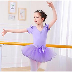 cheap Ballet Dancewear-Kids' Dancewear Ballet Skirts Cascading Ruffles Girls' Training Performance Short Sleeve Mesh Spandex
