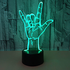 cheap 3D Night Lights-3D LED Illusion Night Light 3D Optical Illusion Night Light Rock Gesture Pattern 7 Colors Changing Touch Switch Desk Visual Home Decoration USB