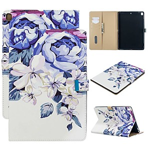 cheap iPad case-Case For Apple iPad Air / iPad 4/3/2 / iPad (2018) Wallet / with Stand / Pattern Full Body Cases Flower PU Leather