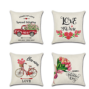 cheap Pillow Covers-1pcs Valentine'S Day Cushion Cover Red Dump Truck Bike Flower Digital Printing