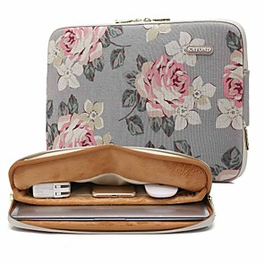 cheap Sleeves,Cases & Covers-13.3 14.1 15.6 inch Universal Rose Pattern Canvas Water-resistant Shock Proof Laptop Sleeve Case Bag for Macbook/Surface/Xiaomi/HP/Dell/Samsung/Sony Etc