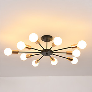 cheap Ceiling Lights-10-Light 10-Head Nordic Style Metal Semi Flush Mount Ceiling Light Modern Living Room Bedroom Dining Room lighting Painted Finish