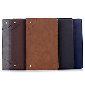 cheap Samsung Case-Case For Samsung Galaxy Tab A2 10.5(2018)/Tab A 10.1(2019)T510 /  tab A 9.7 T550 T555 Wallet / Card Holder / with Stand Full Body Cases Solid Colored PU Leather T580/T530/T820/T810/T830/T720/T860