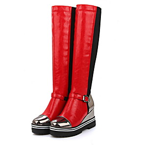 cheap Women's Boots-Women's Boots Wedge Heel Round Toe PU Knee High Boots Fall & Winter Red / Gold / Black / Color Block
