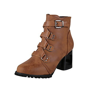 cheap Women's Boots-Women's Boots Chunky Heel Round Toe PU Booties / Ankle Boots Winter Black / Brown / Wine