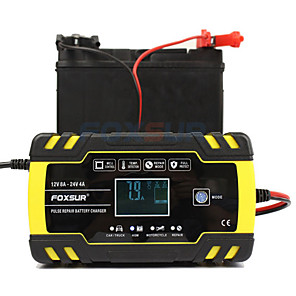 cheap Car Charger-Foxsur Fully automatic Car Battery Charger 12V 8A 24V 4A Smart Fast Charging for AGM GEL WET Lead Acid Battery Charger LCD Display