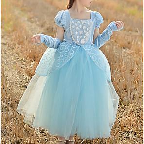 cheap Girls' Dresses-Princess Floor Length Pageant Flower Girl Dresses - Cotton Short Sleeve Square Neck with Beading / Appliques / Paillette