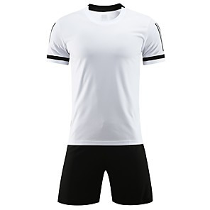 cheap Soccer Jerseys, Shirts & Shorts-Boys' Girls' Soccer Jersey and Shorts Clothing Suit Breathable Quick Dry Soft Running Team Sports Football Camo / Camouflage Cotton Kids Black White Ruby / Micro-elastic