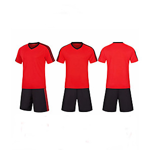 cheap Soccer Jerseys, Shirts & Shorts-Men's Soccer Soccer Jersey and Shorts Clothing Suit Breathable Sweat-wicking Team Sports Active Training Football Stripes Polyester Adults Red