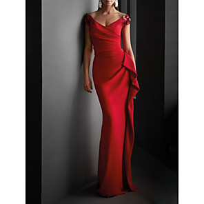 cheap Bridesmaid Dresses-Sheath / Column Sexy Red Wedding Guest Formal Evening Dress V Neck Short Sleeve Sweep / Brush Train Jersey with Draping 2020