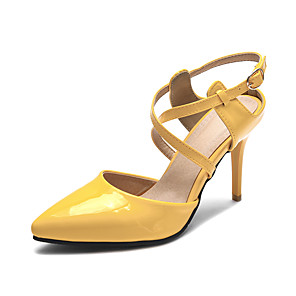 cheap Women's Heels-Women's Heels Stiletto Heel Pointed Toe PU Business / British Summer Black / White / Yellow / Party & Evening