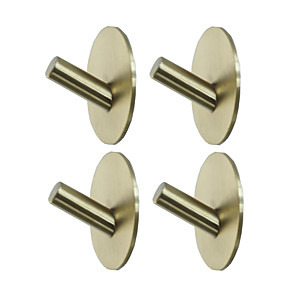 cheap Bathroom Accessory Set-Adhesive Round Hooks 4 Pieces  Durable 304 Stainless Steel Wall Hangers Waterproof Rustproof Oil Proof for Kitchen Bathrooms Doors Office Closet-Black Silver Golden 3M03-4Y
