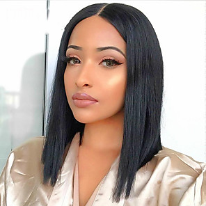 cheap 3 Bundles Human Hair Weaves-Human Hair 13x6 Closure Wig Deep Parting style Brazilian Hair Natural Straight Natural Wig 150% Density Smooth Women Comfortable Wedding Natural Hairline Women's Short Human Hair Lace Wig Dolago