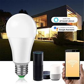 cheap Smart Lights-Dimmable 15W E27 B22 WiFi Smart Light Bulb LED Lamp App Operate Alexa Google Assistant Voice Control Wake up Smart Lamp Night Light