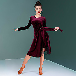cheap Latin Dancewear-Latin Dance Dress Lace Sashes / Ribbons Ruching Women's Training Performance Long Sleeve Natural Velvet