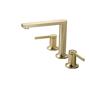 cheap Bathroom Sink Faucets-Bathroom Sink Faucet - Widespread Brushed Gold Other Two Handles Three HolesBath Taps