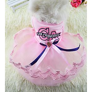 رخيصةأون ملابس الكلاب-كلاب قطط الفساتين لون سادة أميرة رومانسي حلو ملابس الكلاب أزرق زهري كوستيوم قطن XS S M L XL XXL