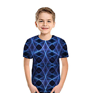 cheap Clutches & Evening Bags-Kids Boys' Active Street chic Geometric 3D Patchwork Print Short Sleeve Tee Rainbow