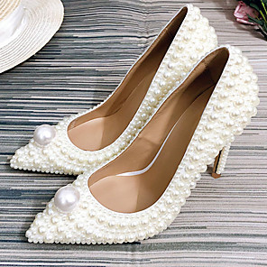 cheap Wedding Shoes-Women's Wedding Shoes Glitter Crystal Sequined Jeweled Stiletto Heel Pointed Toe Pearl PU Fall & Winter White / Party & Evening