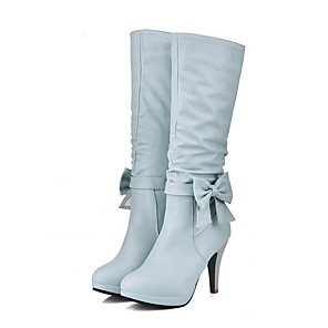 cheap Women's Boots-Women's Boots Stiletto Heel Round Toe PU Mid-Calf Boots Winter Black / White / Blue