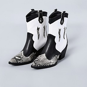 cheap Women's Boots-Women's Boots Wedge Heel Pointed Toe PU Mid-Calf Boots Spring &  Fall White