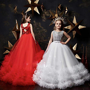 cheap Movie & TV Theme Costumes-Princess Dress Masquerade Flower Girl Dress Girls' Movie Cosplay A-Line Slip Cosplay Halloween Red / White Dress Halloween Carnival Masquerade Tulle Polyester