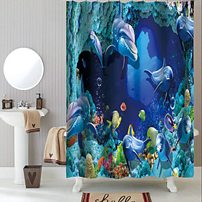 cheap Shower Curtains-Shower Curtains with Hooks Classic Underwater World Polyester Novelty Fabric Waterproof Shower Curtain for Bathroom