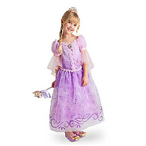 cheap Movie & TV Theme Costumes-Rapunzel Dress Masquerade Flower Girl Dress Girls' Movie Cosplay A-Line Slip Cosplay Halloween Purple Dress Halloween Carnival Masquerade Tulle Polyester