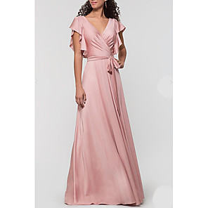 cheap Bridesmaid Dresses-A-Line Plunging Neck Floor Length Satin Bridesmaid Dress with Bow(s) / Ruffles / Open Back