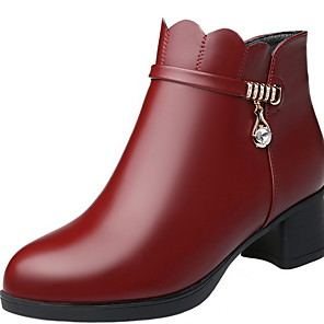 cheap Women's Boots-Women's Boots Chunky Heel Round Toe PU Booties / Ankle Boots Winter Black / Wine