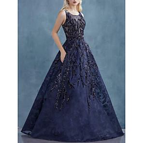 cheap Wedding Wraps-A-Line Elegant Prom Dress Jewel Neck Sleeveless Floor Length Organza with Appliques 2020