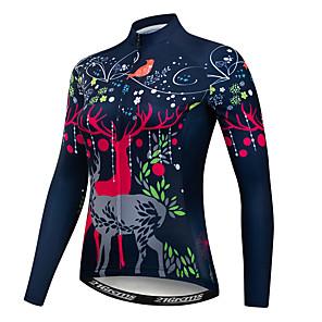 cheap Cycling Jerseys-21Grams Floral Botanical Deer Women's Long Sleeve Cycling Jersey - Fuchsia Bike Jersey Top UV Resistant Breathable Moisture Wicking Sports Winter Fleece Polyester Elastane Mountain Bike MTB Road Bike