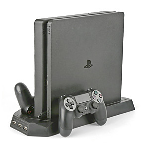 cheap Game Consoles-PS4 SLIM CONSOLE VERTICAL COOLING STAND WITH DUAL JOYSTICK CONTROLLER CHARGER DOCK STATION FOR SONY PLAYSTATION 4 SLIM GAMES