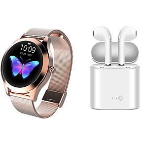 cheap Smartwatches-KW10 Stainless Steel Smartwatch BT Fitness Tracker with TWS Wireless Headphone Support Notify/Heart Rate Monitor Sport Smart Watch Compatible IOS/Android Phones