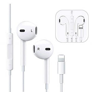 cheap Wired Earbuds-Wired Earphones Lighting TWS In-ear Bluetooth headset for Smart iPhone 7 8 earphone X XS 11 pro Max Earbuds with Microphone