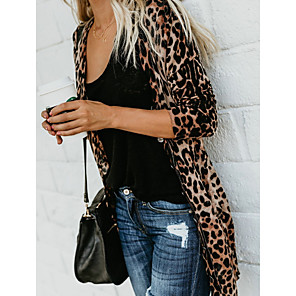 cheap Security Sensors & Alarms-Women's Leopard Long Sleeve Cardigan Sweater Jumper, Deep V Cotton Brown S / M / L/StayCation