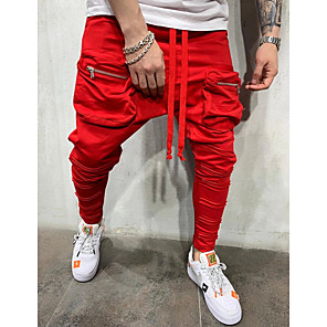 cheap Men's Sneakers-Men's Sporty Chinos Pants - Solid Colored Drawstring Black Red Dark Gray US36 / UK36 / EU44 / US38 / UK38 / EU46 / US40 / UK40 / EU48