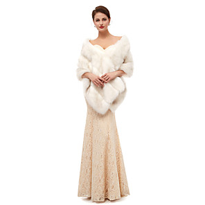 cheap Wedding Wraps-Sleeveless Capes Faux Fur Wedding Women's Wrap With Solid