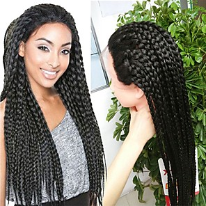 cheap Synthetic Lace Wigs-Synthetic Lace Front Wig Box Braids Straight Lace Front Wig Long Natural Black Synthetic Hair 20-32 inch Women's Heat Resistant Natural Hairline African American Wig Black
