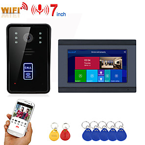 cheap Video Door Phone Systems-MOUNTAINONE SY709BMJID11 Wired & Wireless Built in out Speaker 7 inch Hands-free One to One video doorphone